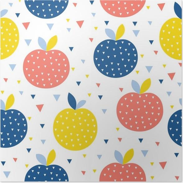 Póster Resumen de patrones sin fisuras de fondo de apple. artesanía ...