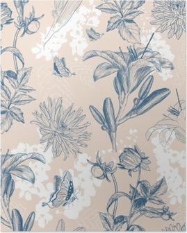 Poster Rétro fleur illustration vectorielle