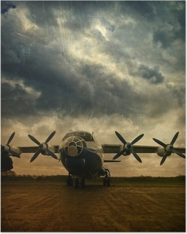 Poster Retro flyget, grunge bakgrund