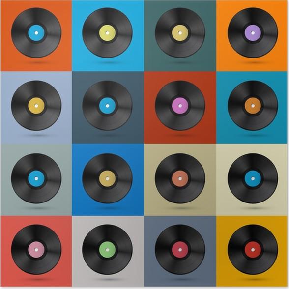 P ster retro fondo disco vintage vector disco de vinilo - Posters de vinilo ...