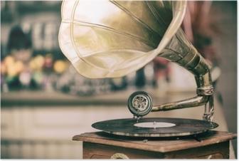 Poster Retro gammal grammofonradio. vintage stil tonat foto