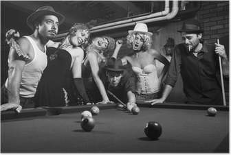 retro group trying to distract man as he takes pool shot. Poster