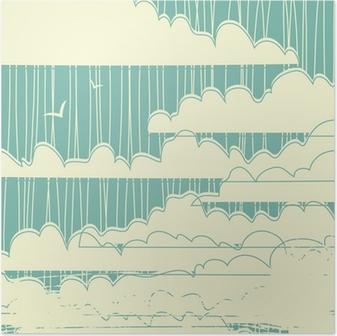 Poster Retro grungy wolken achtergrond
