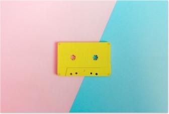 Poster Retro kassettband på ljus bakgrund