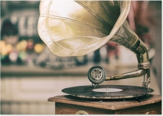 Retro old gramophone radio. Vintage style toned photo Poster