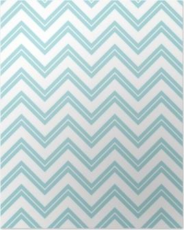 Retro Seamless Pattern Chevron Small Stripe Turquoise Poster