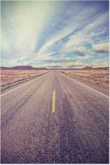 Retro stylized desert highway, travel adventure concept. Poster