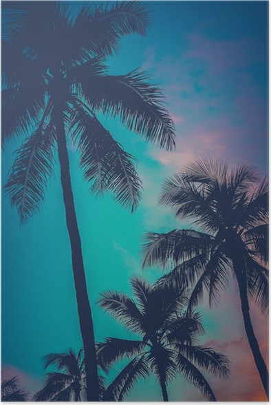 retro sunset hawaii palm trees poster pixers we live to change