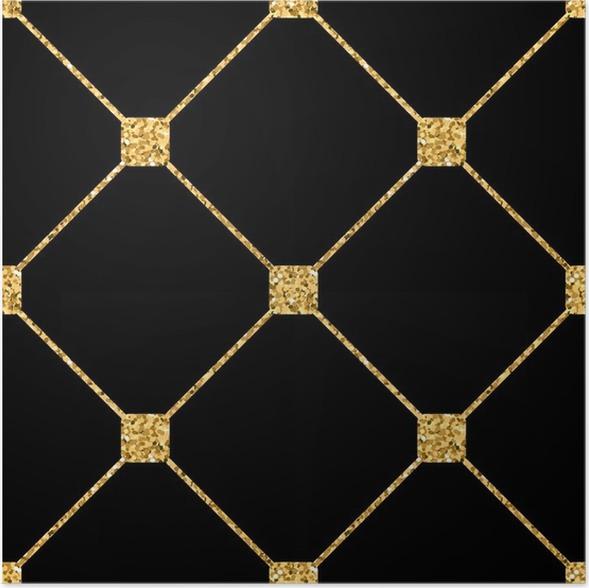 Poster Rhombus Seamless Pattern Paillettes D Or Et Le Modele Noir