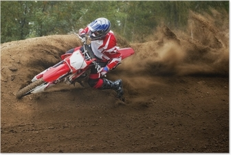 Poster Rider conduite dans la course de motocross