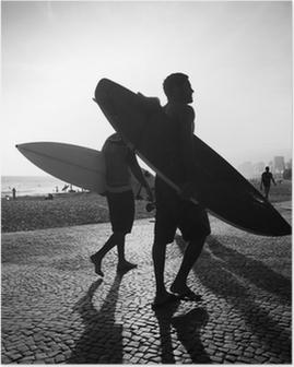 Poster Rio Surfboard Sunset Surfers Arpoador Brazilië