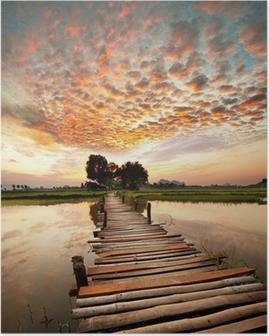 Poster Rivier op zonsondergang