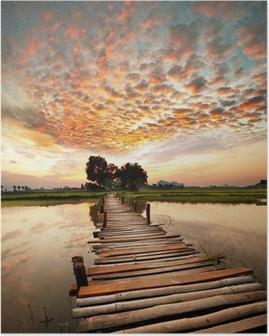 Poster Rivière au coucher du soleil