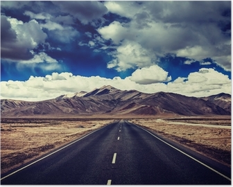 Road on plains in Himalayas with mountains Poster