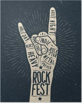 Rock festival poster, flyer. Vector hand draw styled illustration. Poster