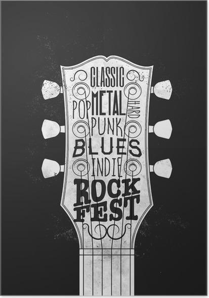 Rock Music Festival Poster Vintage Styled Vector Illustration