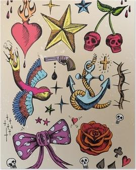 Poster Rockabilly tatouage Vorlagen farbig
