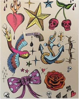 rockabilly tattoo vorlagen farbig Poster