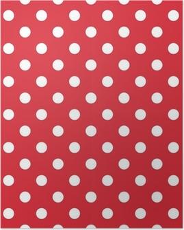 Poster Rode achtergrond retro naadloze vector patroon polka dots