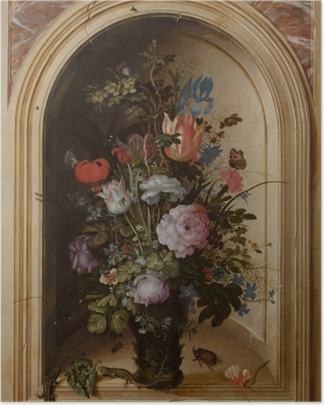 Poster Roelant Savery - Vase with Flowers in a Stone Niche - Reproductions