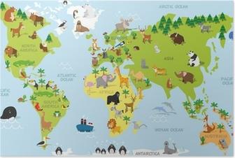 Poster Rolig tecknad världskarta med traditionella djur av alla kontinenter och hav. Vektor illustration för förskoleundervisning och barn utformning