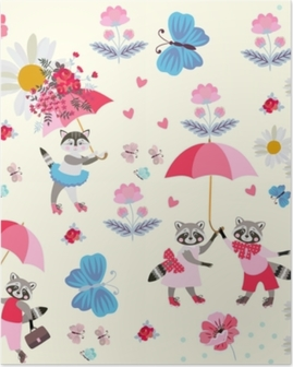 Poster Roliga lilla tvättbjörnar och kattunge med rosa paraplyer, fjärilar, blommor och hjärtan isolerade på ljusgul bakgrund. oändligt mönster för barn. vektor vår eller sommar design.
