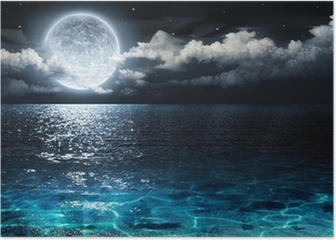 romantic and scenic panorama with full moon on sea to night Poster