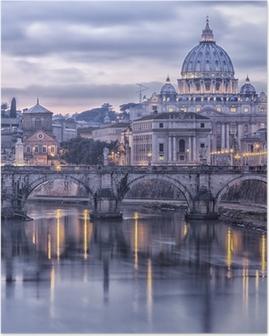 Poster Rome en de rivier de Tiber in de schemering