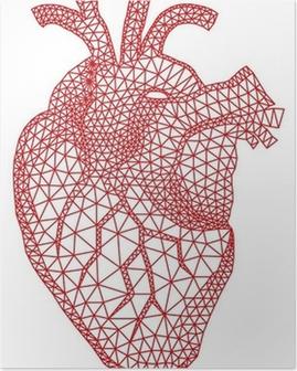 Poster Rood menselijk hart met geometrische maas patroon, vector