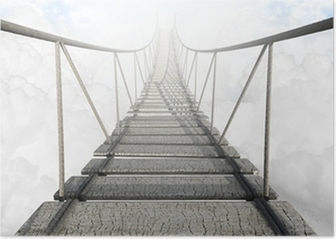 Rope Bridge Above The Clouds Poster