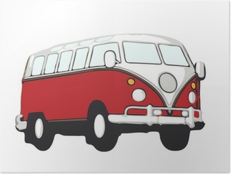 Poster Roter bus vw hippie