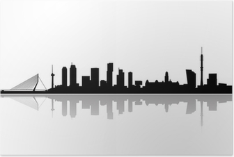 rotterdam city skyline vector Poster
