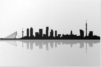 Poster Rotterdam toits de la ville vecteur