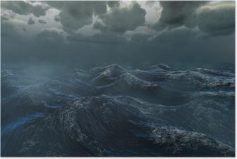 Rough stormy ocean under dark sky Poster