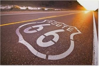 Poster Route 66 coucher de soleil