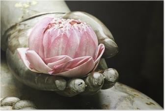 Poster Roze lotus in de hand van Boeddha