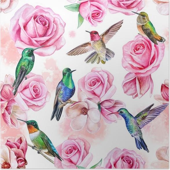 Mediamix Poster Rozen Magnolia Vogels Van De Kolibrie Naadloos Behang Met Kuilen En Bloemen