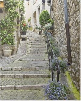 Poster Rue de la ville médiévale de Saint Paul de Vence, France