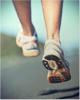 Runnning shoes on runner Poster