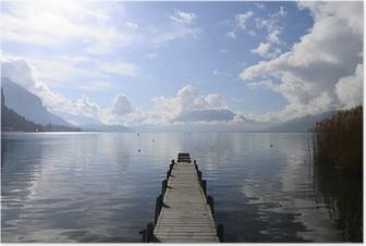 Poster Rustig uitzicht op het meer van Annecy