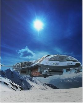 Poster Rymdskepp i snö planet