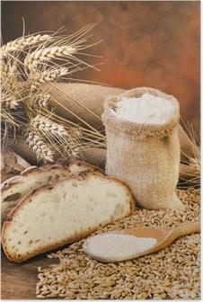 Poster Sacco di farina con pane e spighe