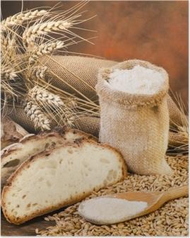 sacco di farina con pane e spighe Poster