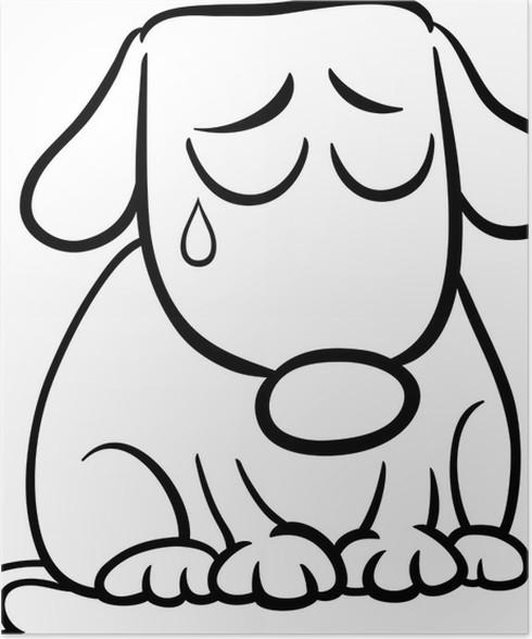 Sad Dog Cartoon Coloring Page Poster