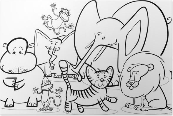 Póster Safari africano animales de dibujos animados para colorear ...