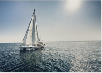 Sailing ship yachts with white sails Poster