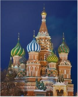 Poster Saint Basil domkyrka på natten, Moskva