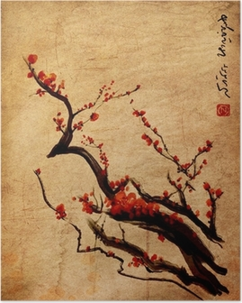 Poster Sakura, fleurs de cerisier prune peinture chinoise