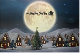 Poster Samengesteld beeld van leuke kerst dorp