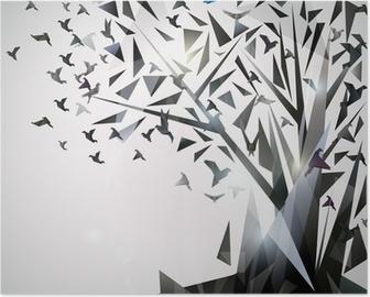 Poster Sammanfattning Träd med origamifåglar.